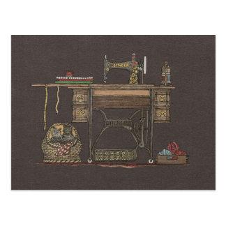 ペダルのミシン及び子ネコ ポストカード