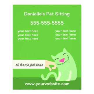 ペットの世話フライヤかわいがる猫の緑 チラシ