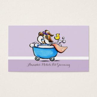 ペットトリマーのシーズー(犬)のTzuの移動式紫色 名刺