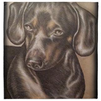 ペットポートレートのブラウンのダックスフント犬のスケッチ ナプキンクロス