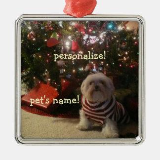 ペット写真または人のクリスマスツリーのオーナメントを加えて下さい メタルオーナメント