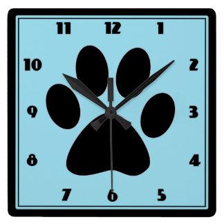 ペット淡いブルーのPawprintの時計の時間 スクエア壁時計