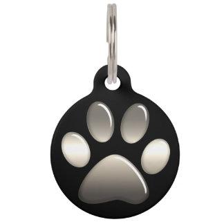 ペット用名札-黒のプラチナ足のプリント ペット ネームタグ