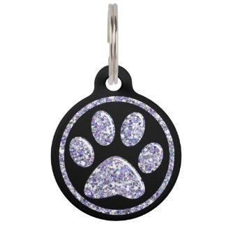 ペット用名札-黒のLt Purple Bling Paw Print ペット ネームタグ