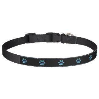 ペット用首輪のティール(緑がかった色)の青くきらきら光るな足のプリント ペット首輪