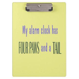 ペット目覚し時計-黄色い背景 クリップボード