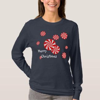 ペパーミントの渦巻のクリスマスのワイシャツ Tシャツ