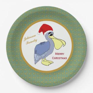 ペリカンのサンタのクリスマス ペーパープレート