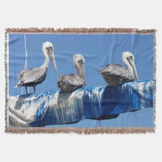 ペリカンの鳥かヨット毛布 スローブランケット