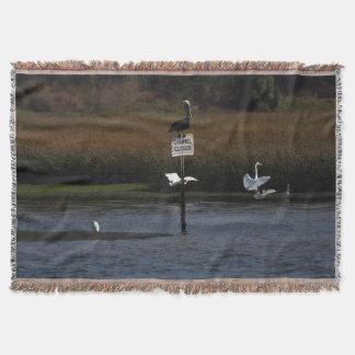 ペリカンの鳥の白鷺の野性生物動物毛布 スローブランケット