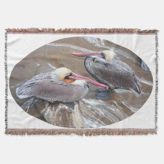ペリカンの鳥の野性生物動物のビーチの海毛布 スローブランケット