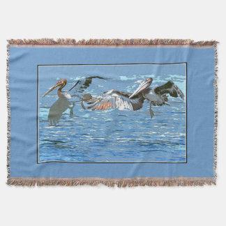 ペリカンの鳥毛布 スローブランケット