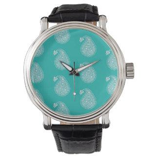 ペルシャのタイルのペイズリー-ターコイズの白 腕時計