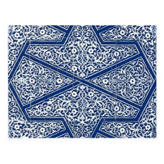 ペルシャのタイルパターン-コバルトブルーおよび白 ポストカード