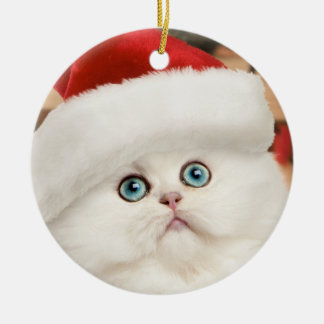 ペルシャの子ネコのクリスマスのオーナメント(円形) セラミックオーナメント