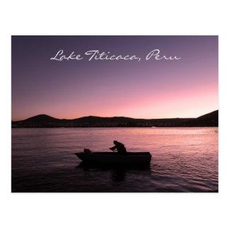 ペルーのチチカカ湖の日没 ポストカード