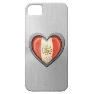 ペルーのハートの旗のステンレス鋼の効果 iPhone SE/5/5s ケース