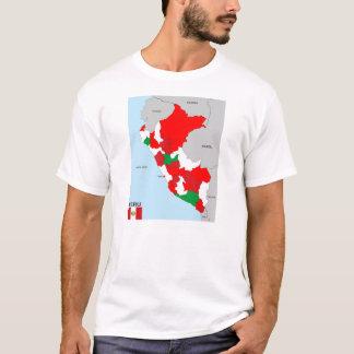 ペルーの国の政治地図の旗 Tシャツ