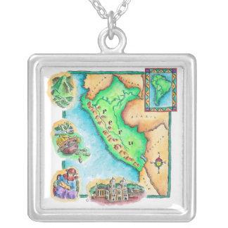 ペルーの地図 シルバープレートネックレス