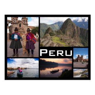 ペルーの複数の画像のコラージュの黒の文字の郵便はがき ポストカード
