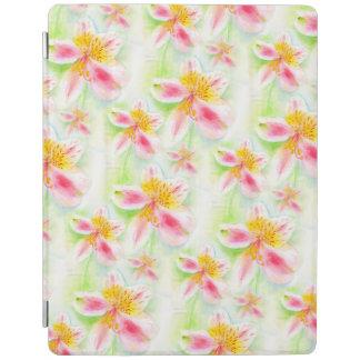 ペルーユリの水彩画のアルストロメリア属の芸術カバー iPadスマートカバー