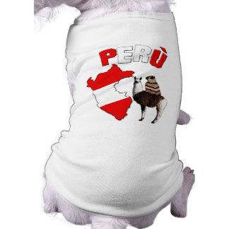ペルー-ラマ僧犬のTシャツのパグ ペット服