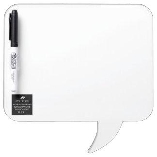 ペンが付いている正方形のスピーチの泡 ホワイトボード