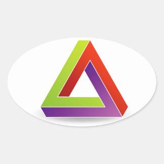 ペンのばら色の三角形 楕円形シール