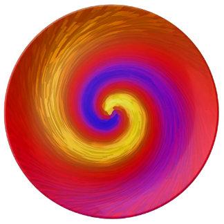 ペンキおよび色の渦 磁器プレート
