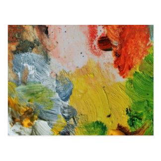 ペンキのパレットは抽象美術を着色します ポストカード