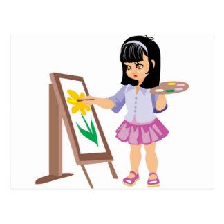 ペンキのパレットを持つ小さな女の子 ポストカード