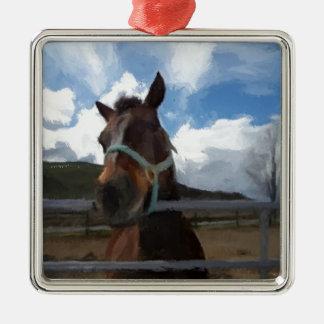ペンキの塀の馬 メタルオーナメント