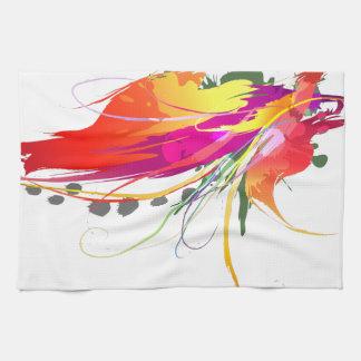 ペンキの(ばちゃばちゃ)跳ねる抽象的な極楽鳥 お手拭タオル