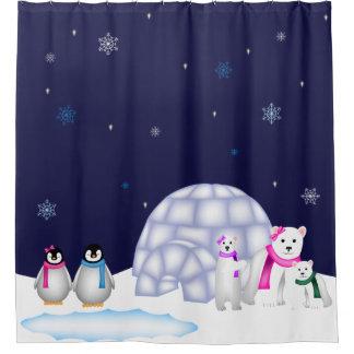 ペンギンおよび白くまのクリスマスのシャワー・カーテン シャワーカーテン
