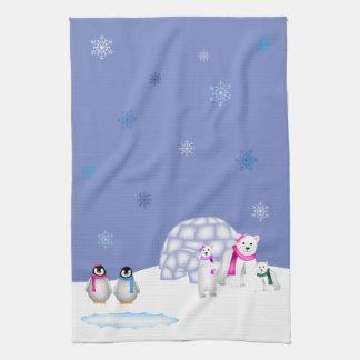 ペンギンおよび白くま日の時間タオル キッチンタオル