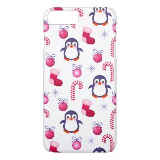 ペンギンが付いているかわいいピンク及びホワイトクリスマスパターン iPhone 8 PLUS/7 PLUSケース