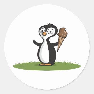 ペンギンのアイスクリーム ラウンドシール