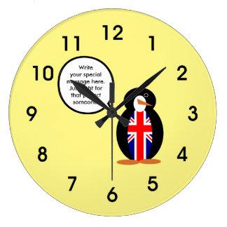 ペンギンのイギリス話す旗 ラージ壁時計