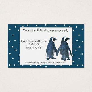 ペンギンのカップルの結婚式のエンクロージャカード 名刺