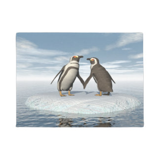 ペンギンのカップル ドアマット