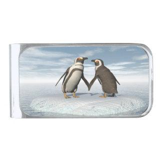 ペンギンのカップル 銀色 マネークリップ