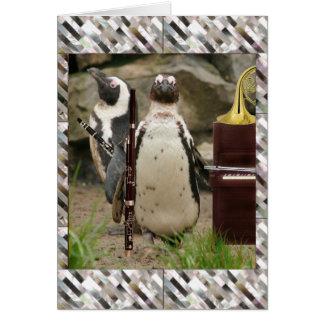 ペンギンのコンサート、風およびピアノ カード