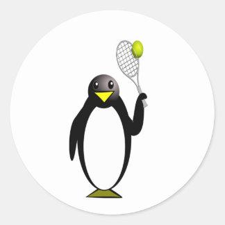 ペンギンのテニス ラウンドシール