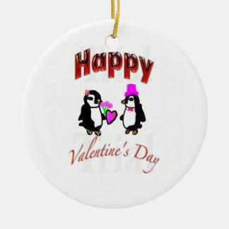 ペンギンのハッピーバレンタインデー セラミックオーナメント
