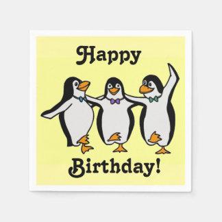 ペンギンのハッピーバースデーを踊るおもしろい! スタンダードカクテルナプキン