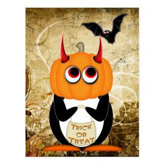 ペンギンのハロウィンの邪悪な郵便はがき ポストカード