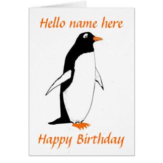ペンギンのバースデー・カードは名前を加えます カード