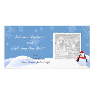 ペンギンの休日の写真カードとの降雪 カード