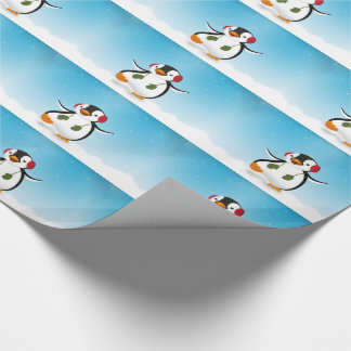 ペンギンの冬のイラストレーション-包装紙 ラッピングペーパー