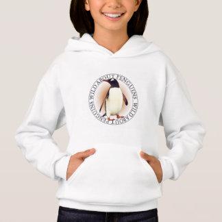 ペンギンの女の子のフード付きのスエットシャツ